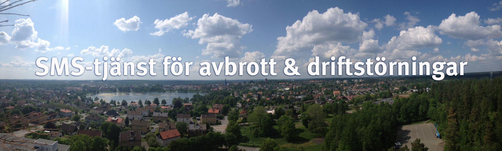 SMS-tjänst för avbrott & driftstörningar - vy över Nässjö